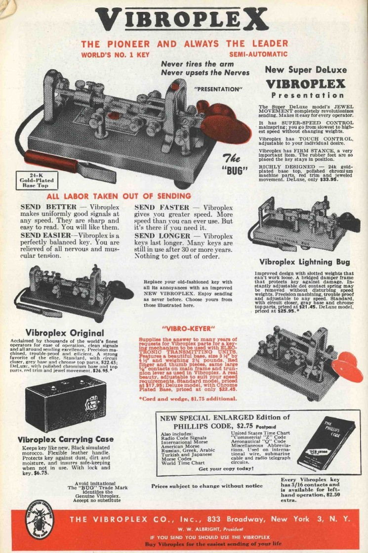 Vibroplex@ Ads from the Years fr
